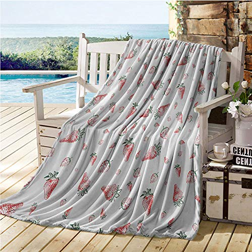 Jecycleus Strawberry, Weave Pattern Extra Long Blanket, Grunge Pattern with Tropical Fruits Healthy Living Organic Eating, Lightweight Blanket Extra Big 90x70 Inch Vermilion Green White