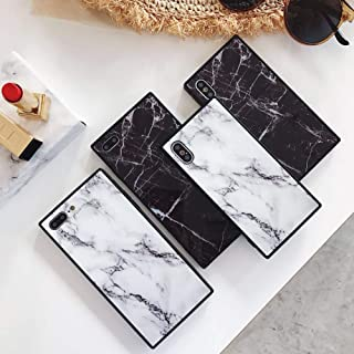 Square Marble Case for iPhone Xs X 10 Black White Glossy Cover for iPhone 7 Plus 8plus Slim Soft Flexible TPU Shockproof Trunk Back Shell (iPhone X/XS, White)