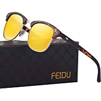 Feidu FD3030 Retro Polarized Half Metal Unisex Sunglasses (Yellow-Leopard)