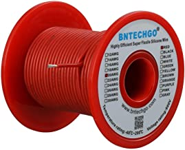 BNTECHGO 20 Gauge Silicone Wire Spool Red 50 feet Ultra Flexible High Temp 200 deg C 600V 20 AWG Silicone Rubber Wire 100 ...