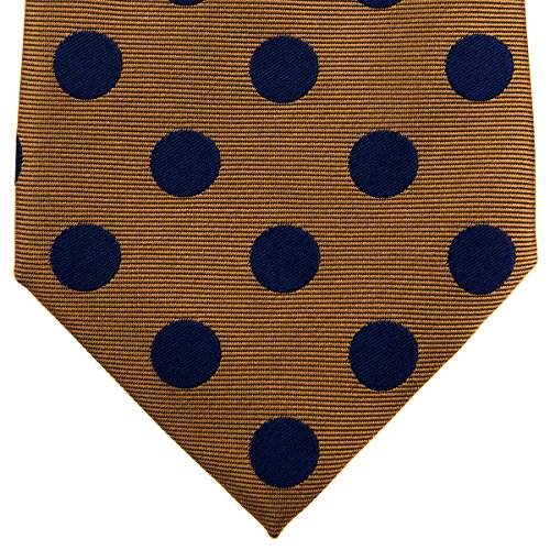 "Retreez Classy Vintage Polka Dots Woven Microfiber 3.15"" Men's Tie Necktie - Brown with Navy Blue Dots"