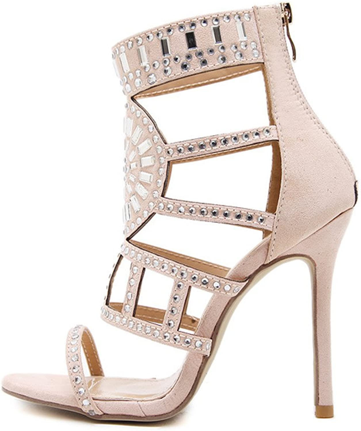 Womens Open Toe Strappy Cuff Stiletto High Heel Rhinestone Embellished Single Soles Sandals