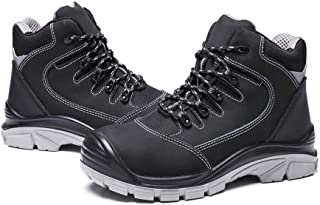 DRKA Men's Steel Toe Work Boots Water Resistant Safety Shoes