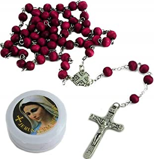 Jerusalem Rose Petals Rosary with Rosary box and a certificate in two languages. The original Rose petals Rosary made with cooked Petals grown in the Jerusalem area.