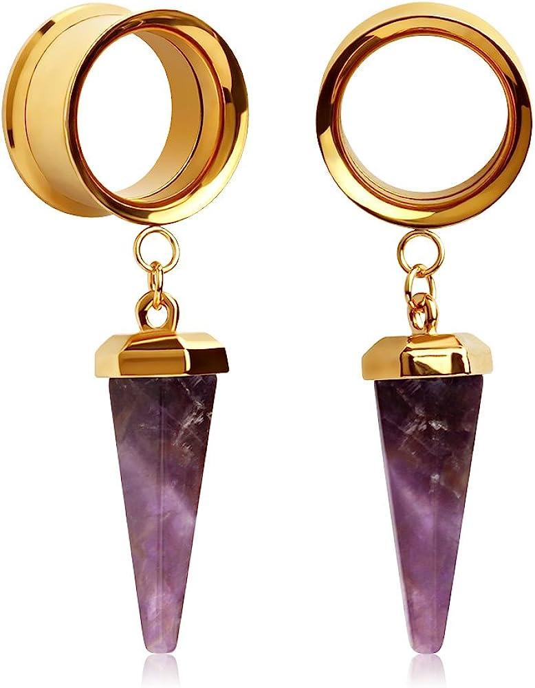 KUBOOZ(1 Pair Amethyst-Stone Pendant Golden Stainless Steel Ear Plugs Tunnels Gauges Stretcher Piercings