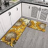 coolcool Ornament Sunflowers 2Pcs Kitchen Mat Sets Non Slip Kitchen Floor Mat Cushioned Anti-Fatigue Rugs Standing Desk Mat Floor Mats