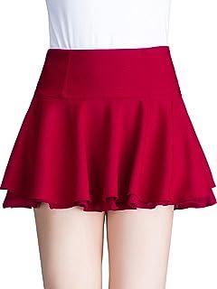 レディース シフォン 無地 スカート プリーツ ミニスカート ふんわり 可愛い 白 黒