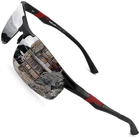 PUKCLAR Mens Driving Sunglasses Polarised Sports Sunglasses Al-Mg Metal Frame Cycling Fishing Golf Goggles