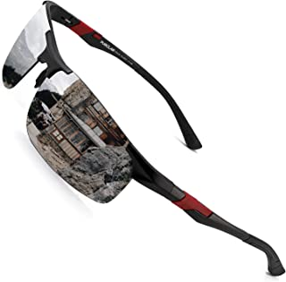 PUKCLAR - Gafas de sol deportivas polarizadas para hombres y mujeres, gafas de sol para conductores, Al-Mg, metal rectangu...