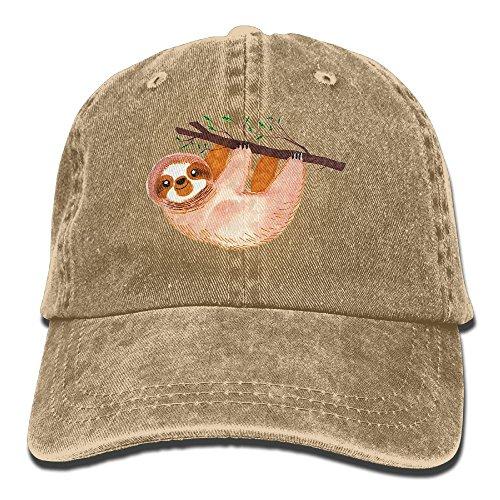 Edongquwe Kawaii Sloth Watercolor Plain Washed Dad Solid Cotton Polo Style Baseball Cap Hat Natural