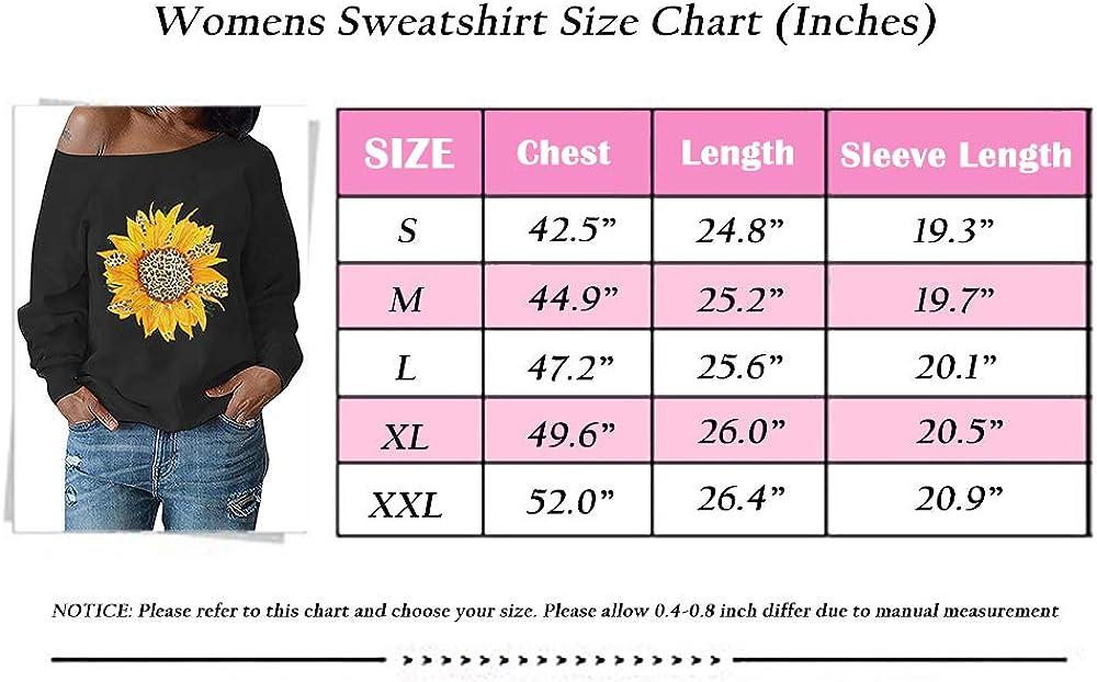 Nirovien Womens Sunflower Sweatshirt Off The Shoulder Pullover Leopard Printed Tops Long Sleeve Shirts