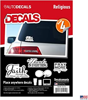 Religious Faith Vinyl Stickers - 4 Piece Decals Car Window Decals - Vinyl Car Sign Sticker - All Weather Proof - Pray More - Faith Infinity Love – Easy to Put On Car