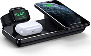 Wireless Charging Station for Apple Watch iPhone & AirPods Pro, Wireless Charger for iPhone 12/11/XR/XS Max/Xs/X/8, iWatch 5/4/3/2/1(Not Included Apple Watch Magnetic Charger) (Black)