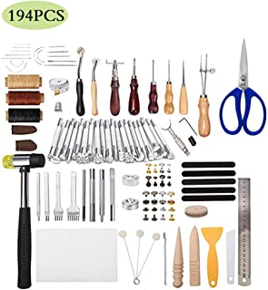JFZS 194PCS Kit De Gravure sur Cuir Outils Et Fournitures en Cuir Fournitures De Kits De Travail en Cuir pour Couture Poin...