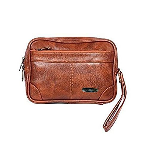 Handcuffs Cash Pouch/Money Carrying Pouch/Handbags/Multipurpose Travel Pouch Leather Rust