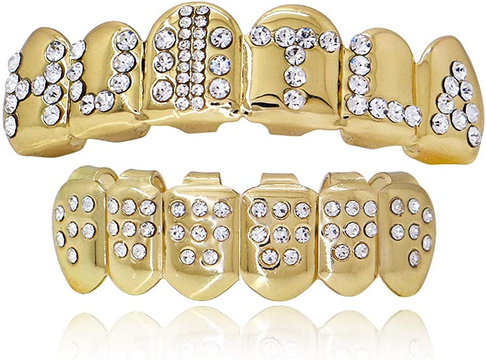 OOCC Joker Costume 18K Gold Plated Hip Hop Iced Out Hustla Top and Bottom Face Grills for Your Teeth