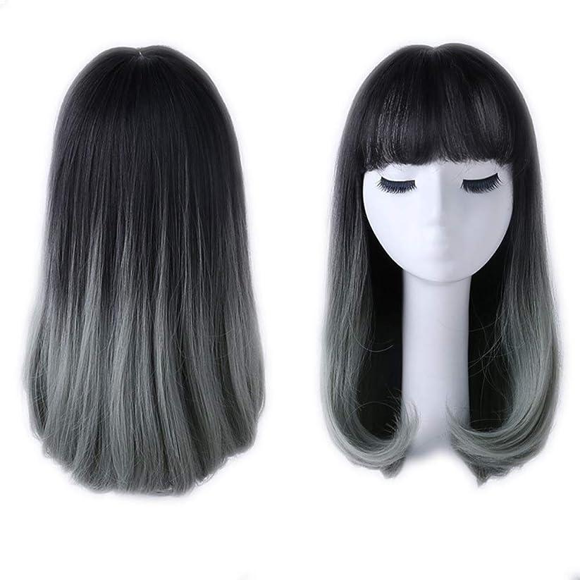 フィッティング成功畝間BOBIDYEE 女性の肩ストレートヘアと前髪ナシ頭の波ふわふわナチュラルグラデーションかつら女性の合成かつらレースかつらロールプレイングかつら (色 : Photo Color)