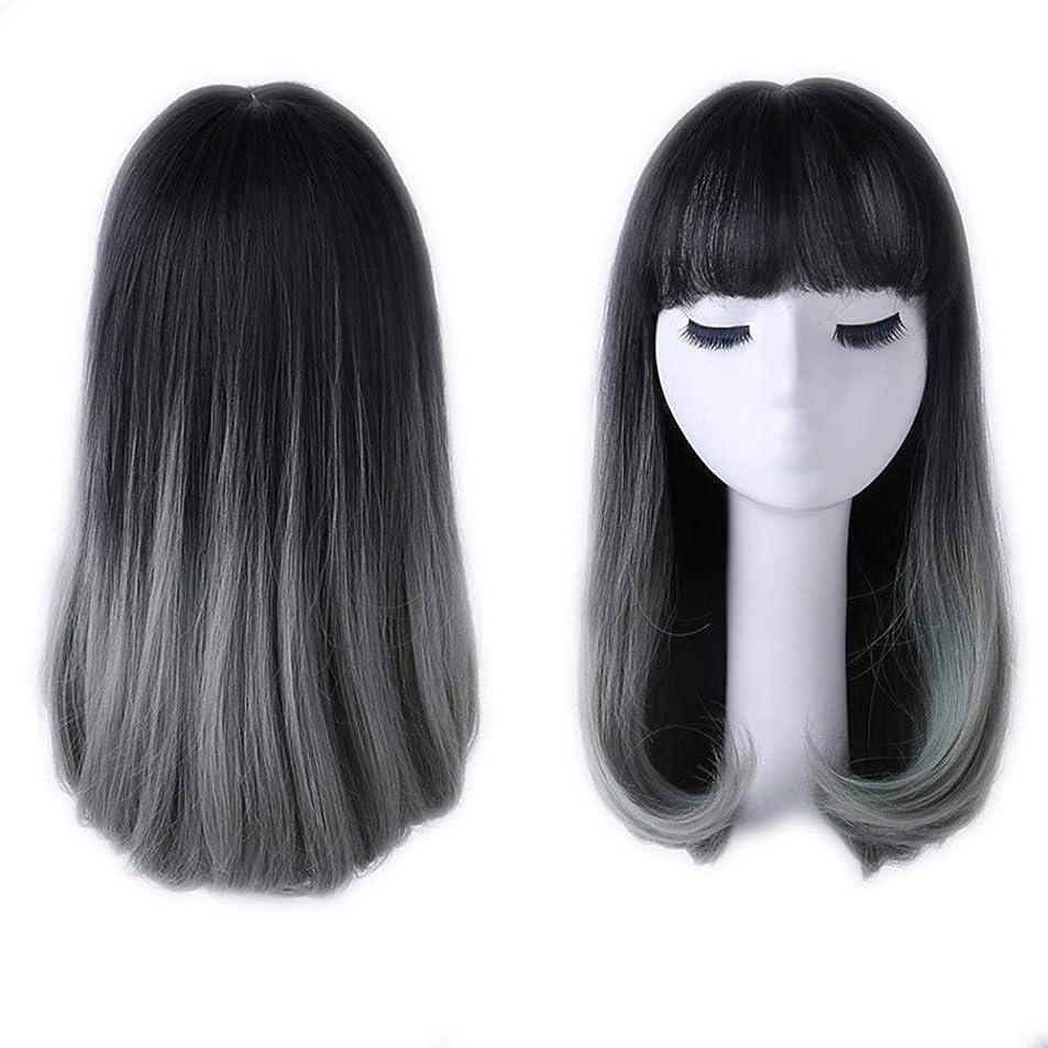 簡略化する連続的子豚BOBIDYEE 女性の肩ストレートヘアと前髪ナシ頭の波ふわふわナチュラルグラデーションかつら女性の合成かつらレースかつらロールプレイングかつら (色 : Photo Color)
