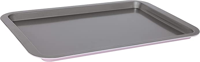 Wiltshire Two Tone Cookie Sheet Medium, Baking Sheet with Non-Stick Coating, Rectangular Coated Sheet pan for Cookies, Carbon Steel bakeware (Colour: Silver, Pastel Pink)
