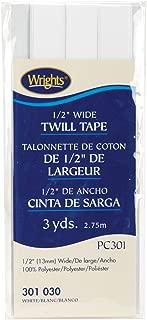 Wrights 117-301-030 Twill Tape, White, 3-Yard