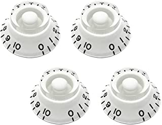 White Top Hat Bell Knobs for Gibson Les Paul Electric Guitar (Set of 4) | Fits 24 Fine-Spline USA (Imperial) Split Shaft Pots by VINTAGE FORGE | BK24US-WHT4