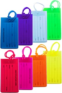8 Packs Colorful Flexible Travel Luggage Tags for Baggage Bags/Suitcases - Name ID Labels Set for Travel