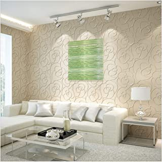 QIHANG Modern Minimalist Embossed 3D Rose Flower Non-Woven Wallpaper Cream Color 0.53m10m=5.3㎡
