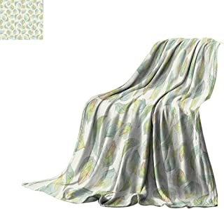 Luckyee Throw Blanket Nature,Abstract Fall Autumn Time Inspired Flower Leaves Veins Artwork Image,Seafoam Pale Green Cream Print Summer Quilt Comforter Bed or Couch 90
