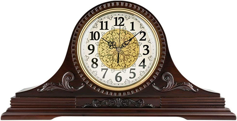 デスククロックファミリークロック置き時計リビングルームの寝室のマントルクロック無垢材サイレントクォーツ時計の装飾リビングルームの寝室に適していますオフィス(色:Time report)