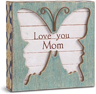 Pavilion Gift Company Simple Spirits 41084 Love You Mom Butterfly Plaque, 4-1/2