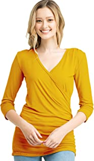 Doublju 3/4 Sleeve Fitted Deep V-Neck Surplice Tops for Women with Plus Size
