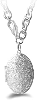 Adisaer Silver Plated Locket Necklace for Women Vintage Pattern Locket Necklaces Oval Memorial Jewelry