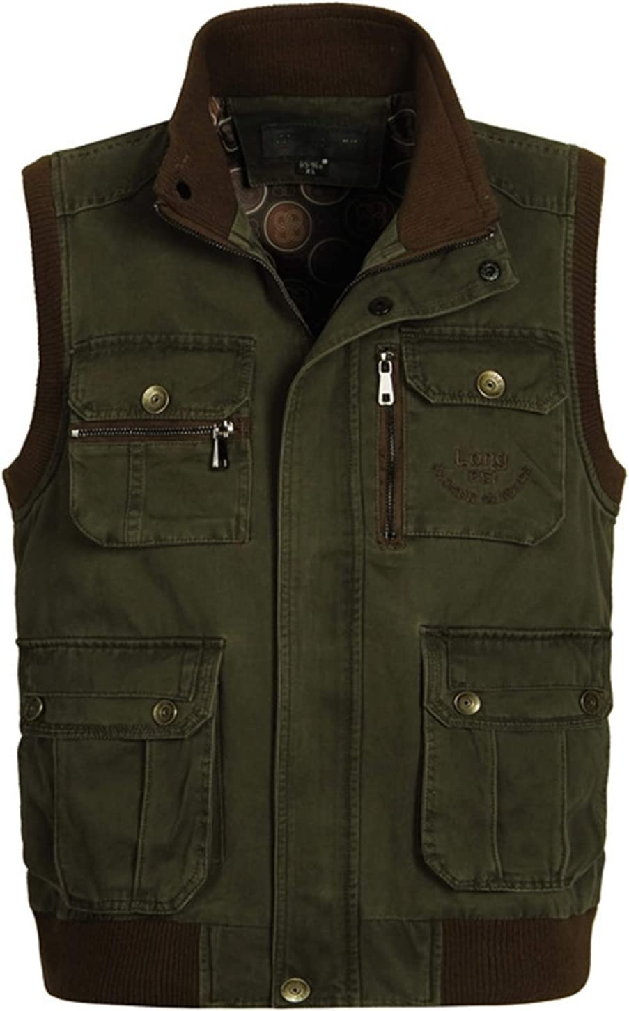Cotton Outdoor Vests,Middle-Aged and Elderly Men's Multi-Pocket Photography Vest,Loose Tank Tops Fishing Waistcoat,Army Green,XL
