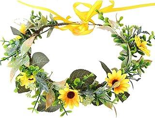 Lurrose Headband da Flor de Girassol Hairband Floral Headbands Grinalda Capina Traje Cosplay Acessórios de Cabelo para As ...