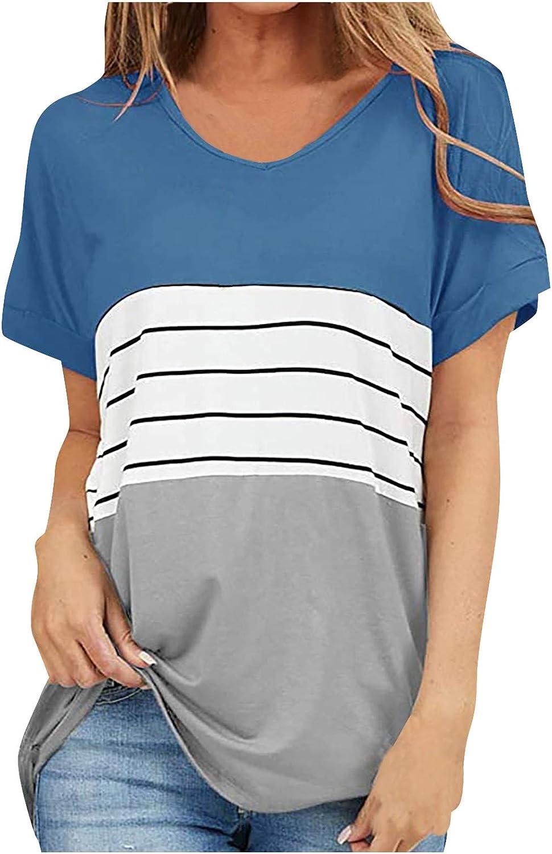 SKOLL Splicing Striped Short Sleeve Shirts for Women V-Neck Work Office T-Shirt Summer Slim Blouse Top Trendy Tees