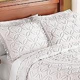 Collections Etc Victoria Plush Chenille Ring-Style Fringe Pillow Sham, Ivory, Sham