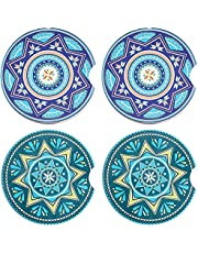 SAYOK Car Coasters, Absorbent, 4 pcs of U-shaped Ceramic Stone Coasters to Keep Cup Hoder Clean Removable Decoration for Car.