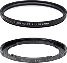 67mm Multi-Coated UV Protective Filter for Canon SX70 HS, SX1 IS, SX10 IS, SX20 IS, SX30 IS, SX40 HS Digital Cameras - Includes FA-DC67A Replacement Ring Adapter