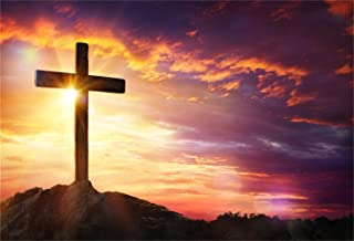 LFEEY Vinyl 10x8ft Backdrop Jesus Christ Cross Sunrise Photography Background Sunset Sepulcher Lord Pray Christmas Easter Crucifixion Religious Belief Studio Props