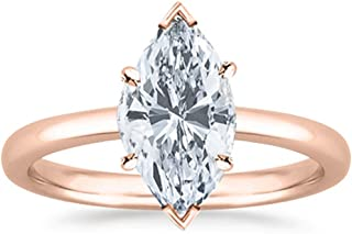 1 Carat GIA Certified 14K White Gold Solitaire Marquise Cut Diamond Engagement Ring (1 Ct I-J Color, I1 Clarity)