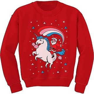 Santa Riding Unicorn Rainbow Ugly Christmas Toddler/Kids Sweatshirt