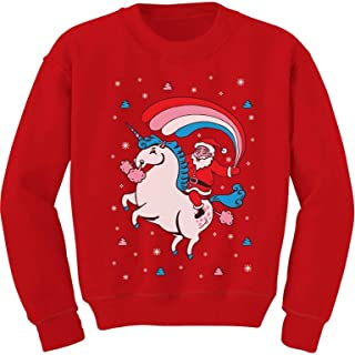 Santa Riding Unicorn Rainbow Ugly Christmas Toddler/Kids Sweatshirt