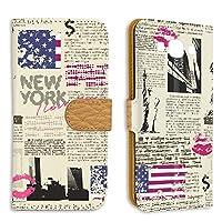 FFANY Galaxy A8 (SCV32) 用 スマホケース 手帳型 ミラータイプ 自由の女神・ニューヨーク 新聞デザイン 包装紙 ラッピング風 SAMSUNG サムスン ギャラクシー エーエイト au スタンド スマホカバー 携帯カバー newspaper aao_210133m