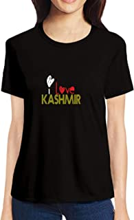Pooplu Womens I Love Kashmir Cotton Printed Round Neck Half Sleeves Black & White T Shirt. City, Country Tshirts