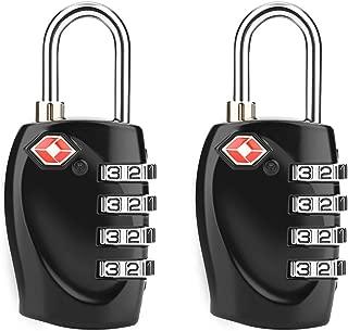 TSA Candados de Equipaje de seguridad - 4 Dígitos de Combinación de Acero - Cerrojo de Viaje Aprobado para Maletas y Equipaje(2 Unidades -Negro)