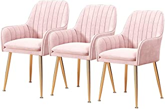 Set of 3 Pcs Soft Velvet Kitchen Chairs Dining Chairs Retro with Armrests & Backrest Room Corner Chairs Metal Legs Non-Sli...