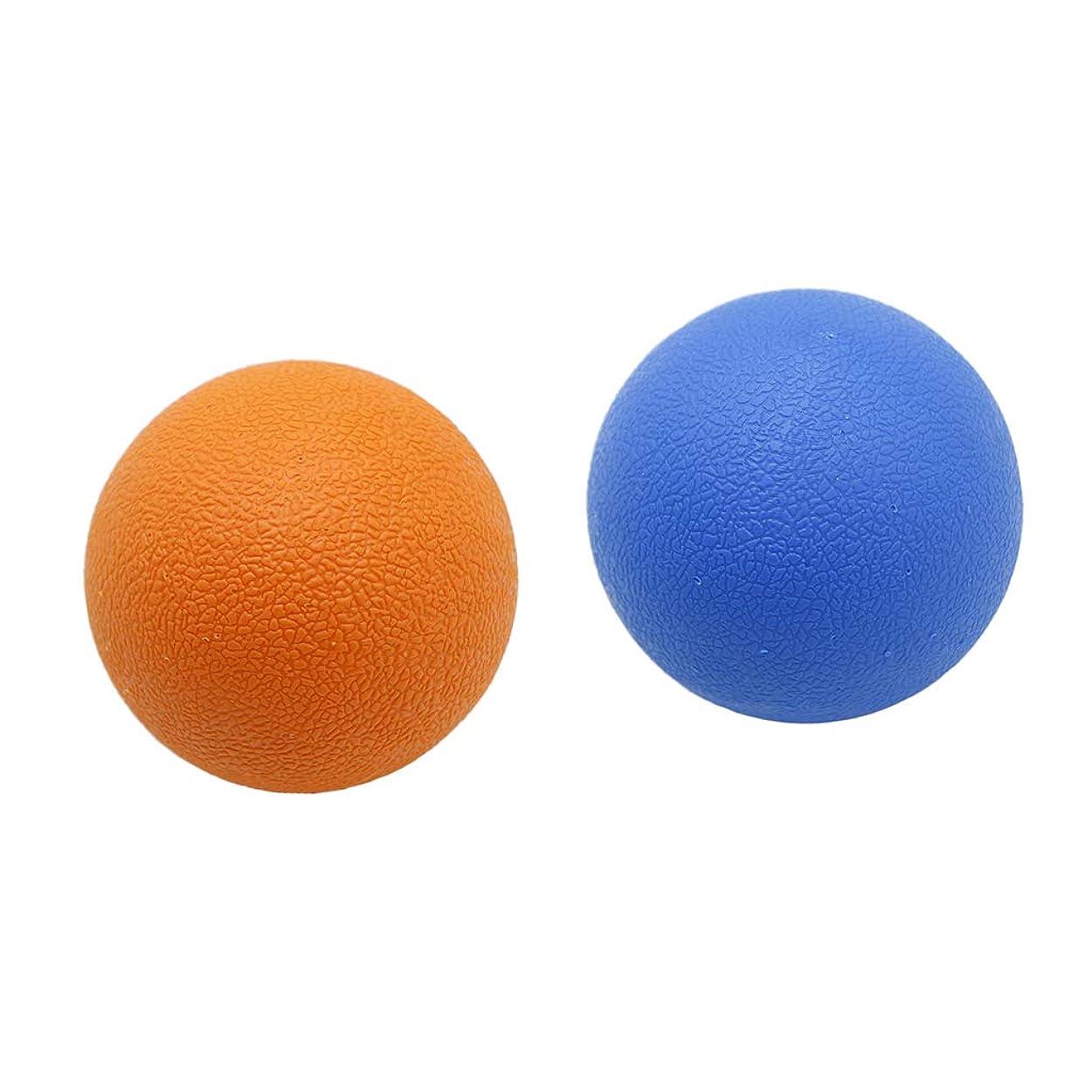 法廷船上回復するHellery 2個 マッサージボール ラクロスボール トリガーポイント 弾性TPE 健康グッズ オレンジブルー