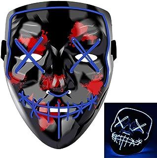 Charlemain LED Maske, Halloween Maske mit 3 Blitzmodi, harmlos, blinkende Maske für Halloween, Weihnachten, Karneval, Party, Kostüm Cosplay, Geschenk. (Blau)