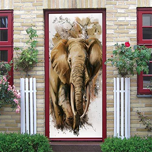 MACHINE BOY Interior Door Bedroom Living Room Bathroom House Decorative 3D Door Wall Office Art Door Sticker Ink Brown Landscape Elephant Size 90 * 200cm