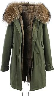 Melody Women's Luxurious Raccoon Fur Collar Hooded Parka Rabbit Fur Lined Winter Jacket Long Coat Thick Outwear